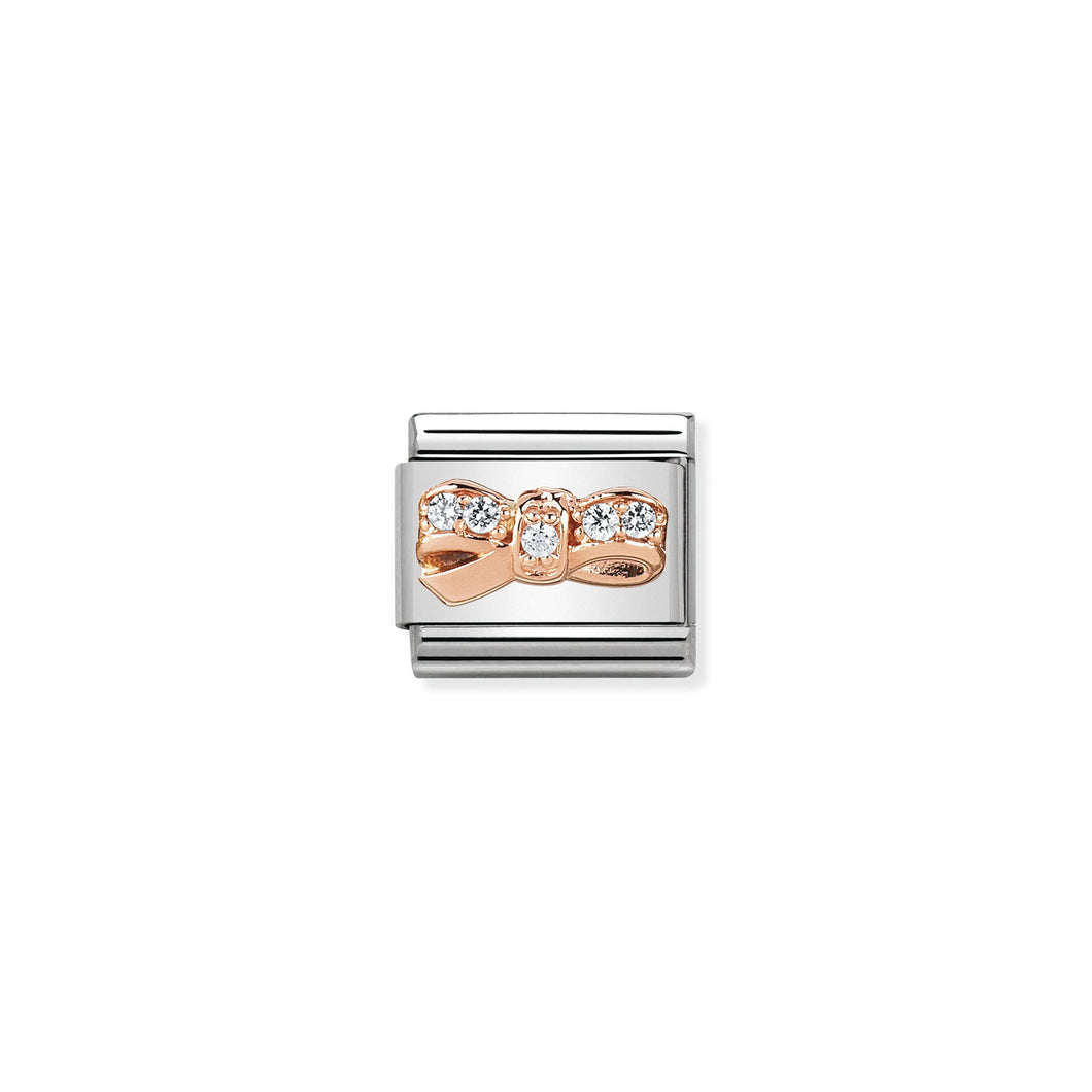 COMPOSABLE CLASSIC LINK 430302/12 BOW CHERIE 9K ROSE GOLD & CZ