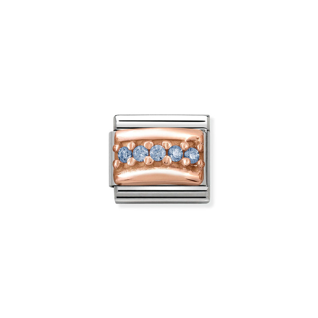 COMPOSABLE CLASSIC LINK 430304/05 LIGHT BLUE PAVÉ CZ IN 9K ROSE GOLD