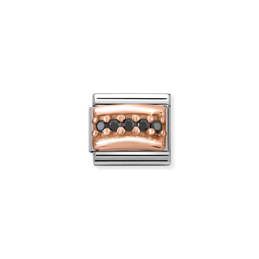 COMPOSABLE CLASSIC LINK 430304/10 BLACK PAVÉ CZ IN 9K ROSE GOLD