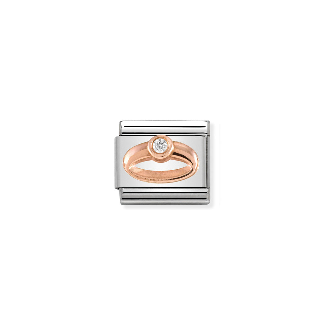 COMPOSABLE CLASSIC LINK 430305/04 RING IN 9K ROSE GOLD & CZ