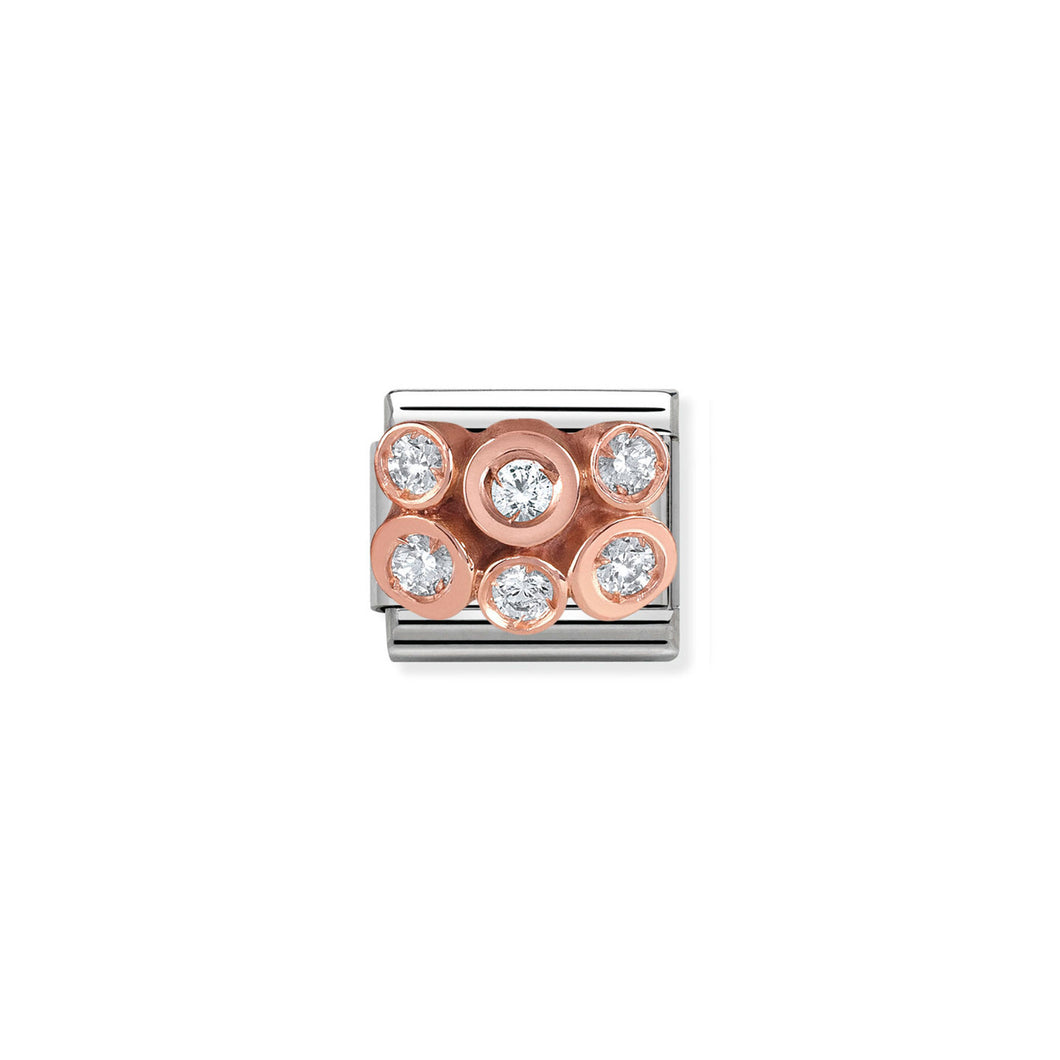 COMPOSABLE CLASSIC LINK 430306/01 CRYSTAL CLUSTER IN 9K ROSE GOLD & CZ