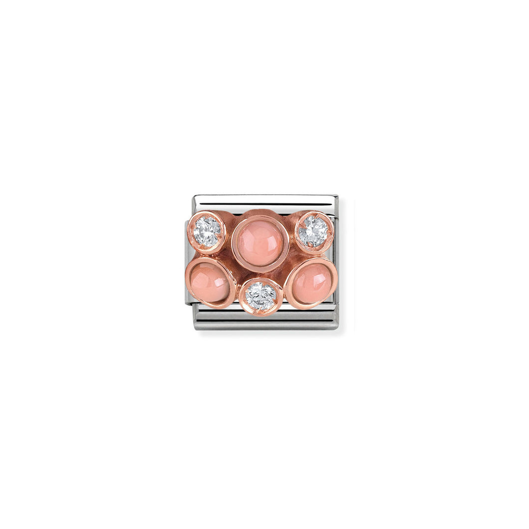 COMPOSABLE CLASSIC LINK 430307/02 CLUSTER WITH PINK CORAL IN 9K ROSE GOLD & CZ