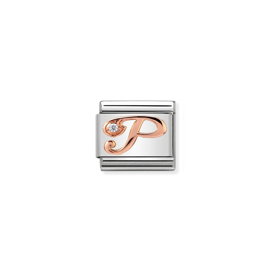 COMPOSABLE CLASSIC LINK 430310/16 LETTER P IN 9K ROSE GOLD