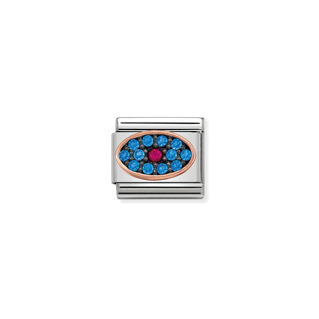 COMPOSABLE CLASSIC LINK 430313/02 OVAL PINK/BLUE CZ IN 9K ROSE GOLD