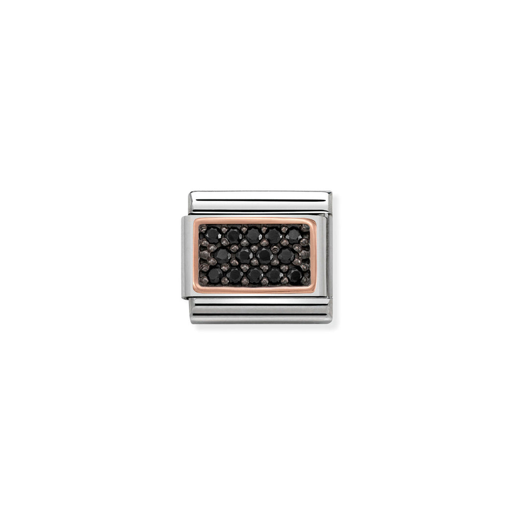 COMPOSABLE CLASSIC LINK 430313/03 RECTANGLE WITH BLACK PAVÉ CZ IN 9K ROSE GOLD