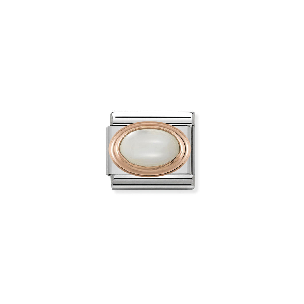 COMPOSABLE CLASSIC LINK 430501/12 WHITE MOTHER OF PEARL OVAL IN 9K ROSE GOLD