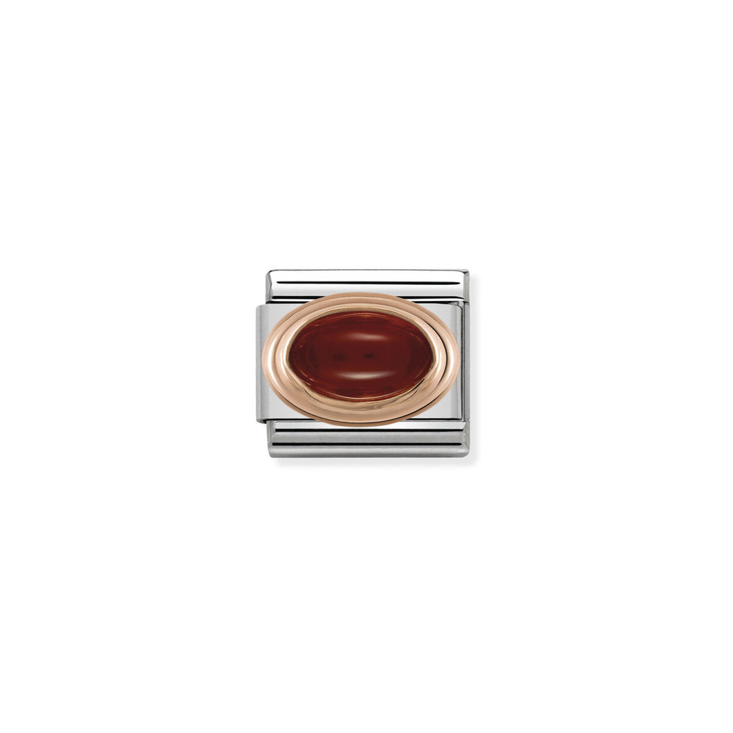 COMPOSABLE CLASSIC LINK 430502/03 GARNET OVAL IN 9K ROSE GOLD