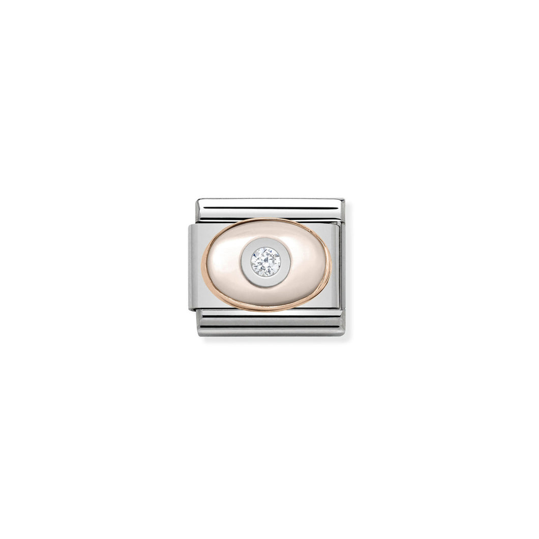 COMPOSABLE CLASSIC LINK 430504/02 PINK MOTHER OF PEARL & CZ IN 9K ROSE GOLD