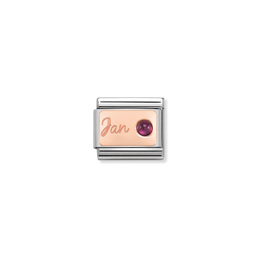 COMPOSABLE CLASSIC LINK 430508/01 JANUARY GARNET IN 9K ROSE GOLD