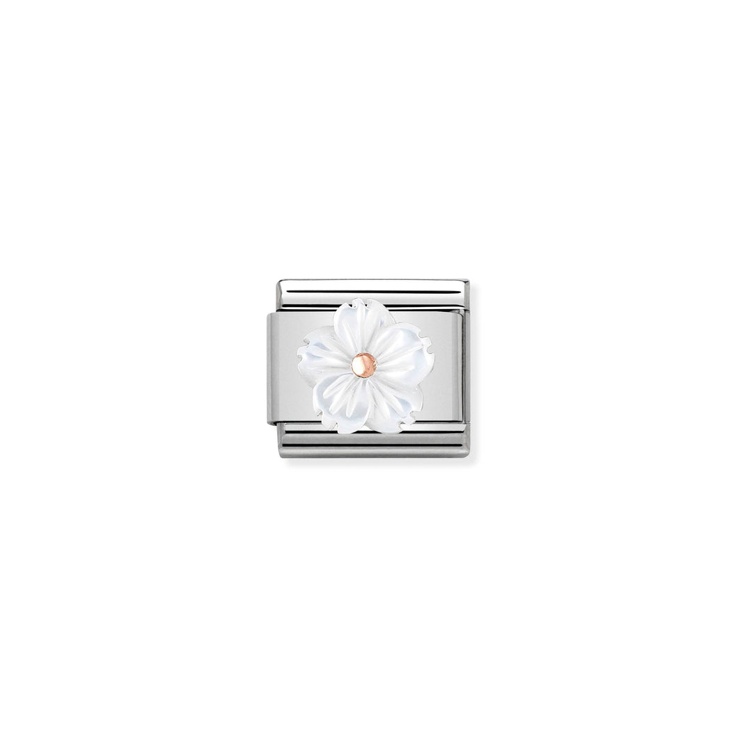 COMPOSABLE CLASSIC LINK 430510/02 FLOWER IN WHITE MOTHER OF PEARL IN 9K ROSE GOLD