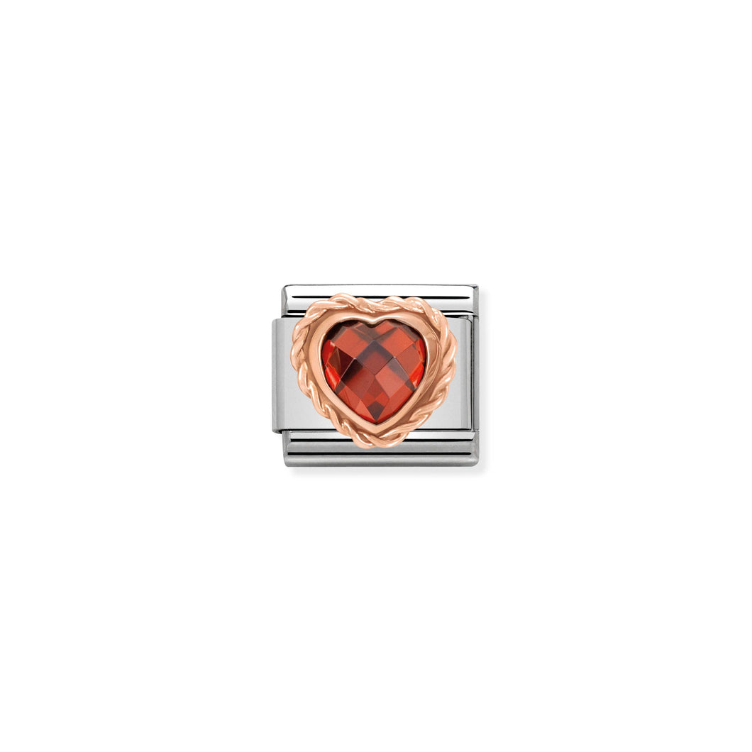 COMPOSABLE CLASSIC LINK 430602/005 FACETED RED CZ HEART IN 9K ROSE GOLD