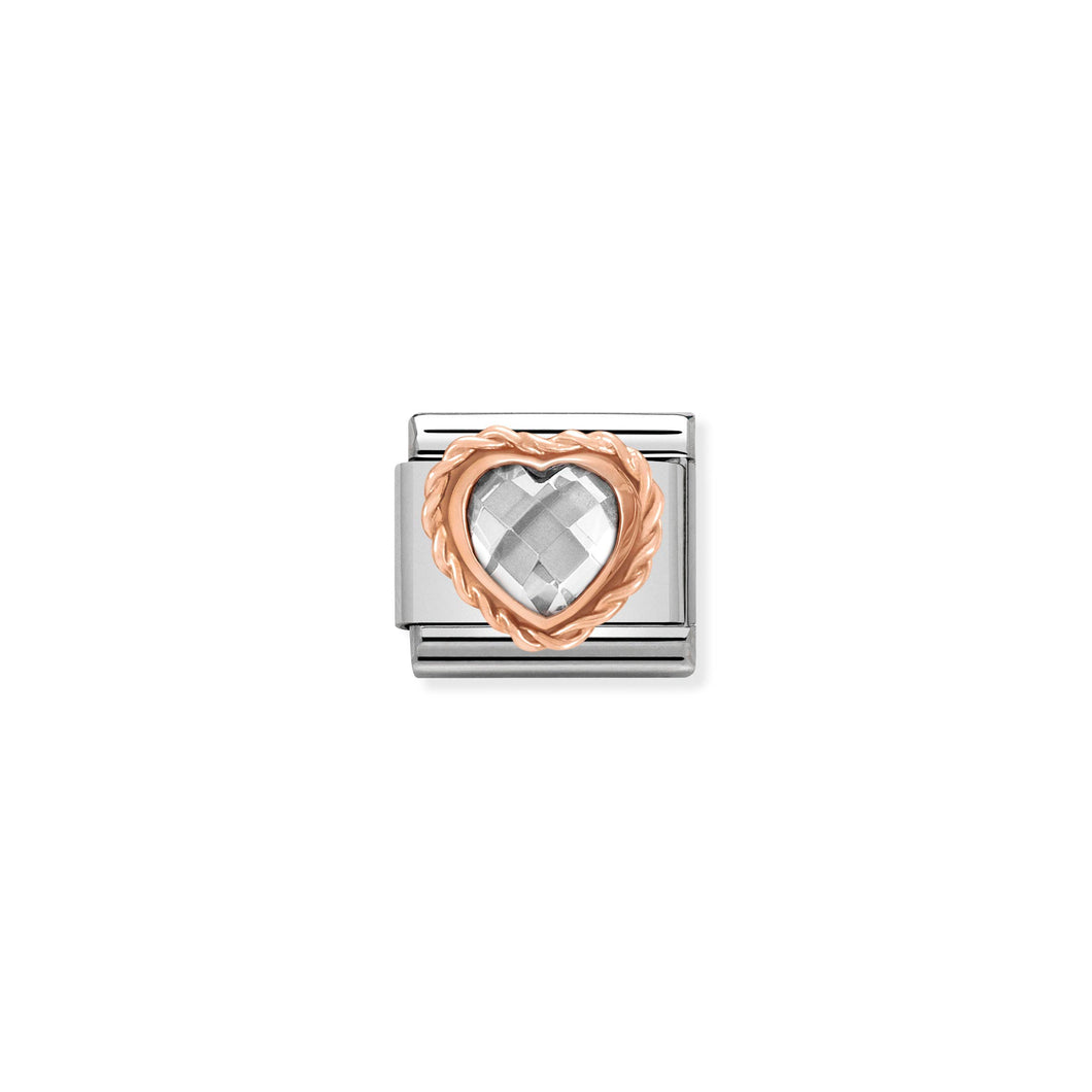 COMPOSABLE CLASSIC LINK 430602/010 FACETED WHITE CZ HEART IN 9K ROSE GOLD