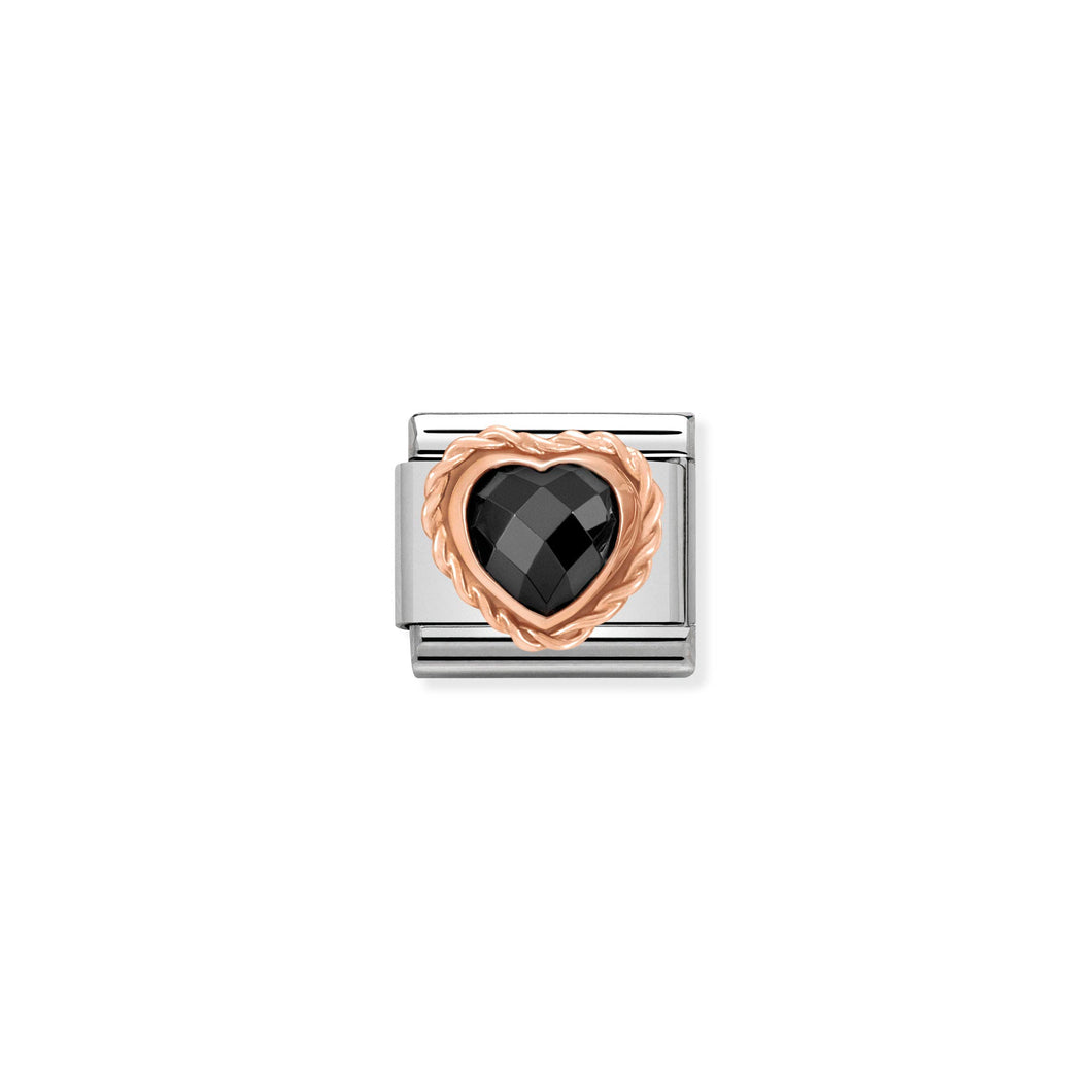COMPOSABLE CLASSIC LINK 430602/011 FACETED BLACK CZ HEART IN 9K ROSE GOLD