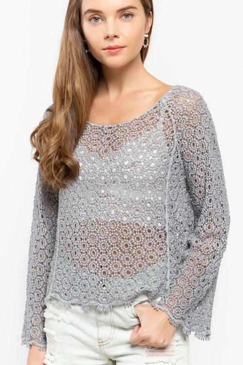 Dove Grey Crochet Top