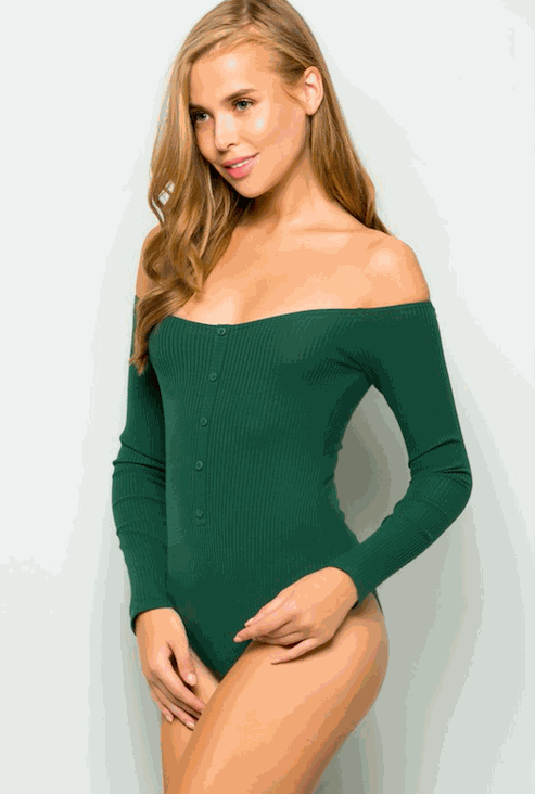 Green Off Shoulder Button Down Rib Bodysuit