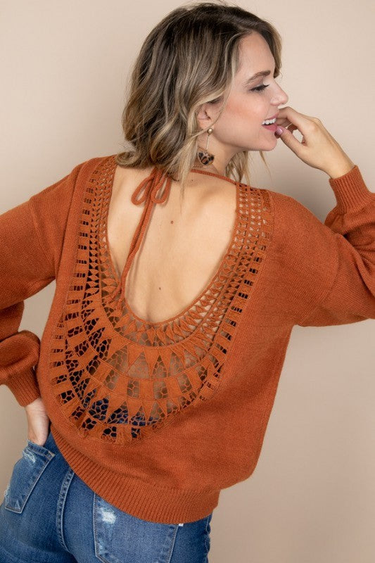Open Back Lace Detail Sweater Top