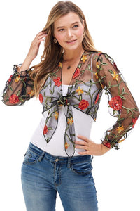 Floral Embroidered Transparent Crop Top