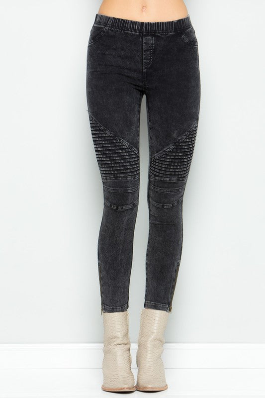 Moto Leggings With Knee Frill