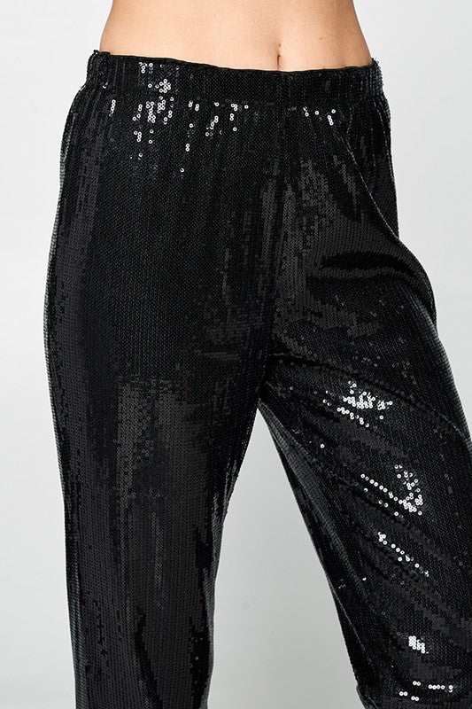 Sequin Jogger Pants With Elastic Waist Band