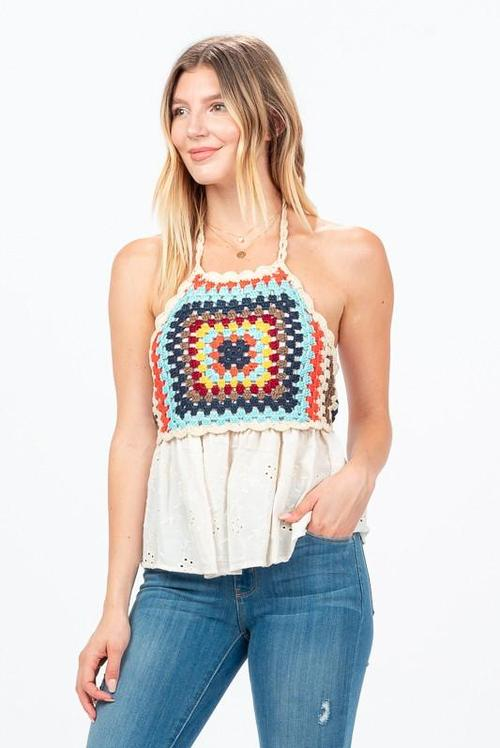 Crochet Knit Boho Top
