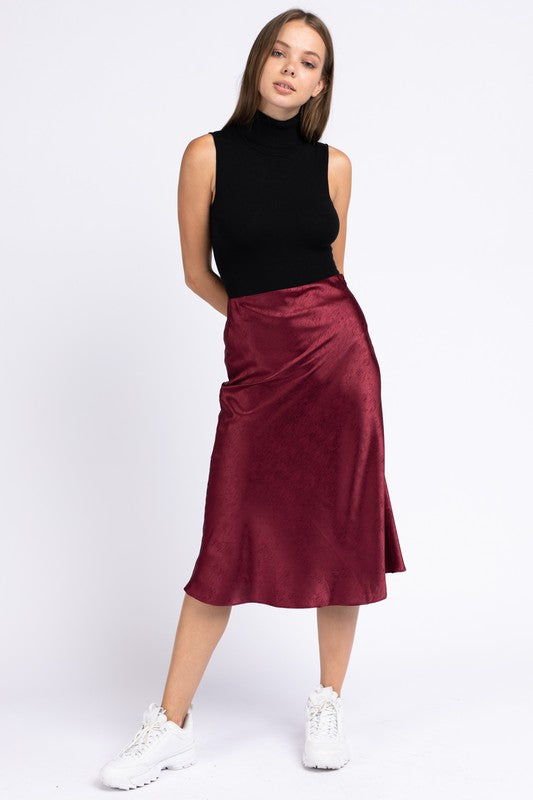 Burgundy High Waist Midi Skirt
