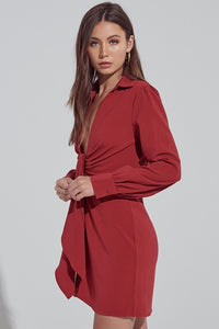 Wine Front Fold Detail Dress