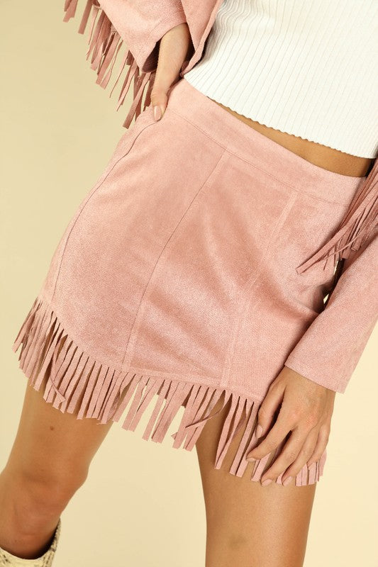Dusty Pink Mini Skirt With Fringe