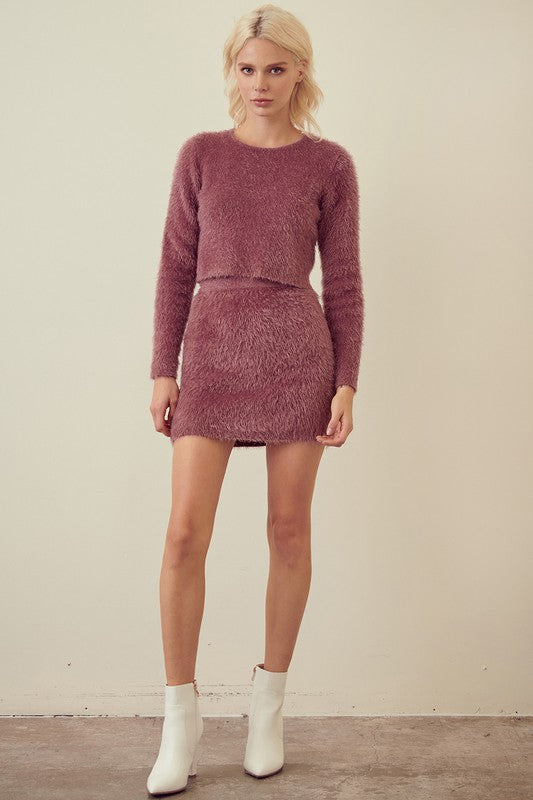 Purple Fuzzy Knit Sweater