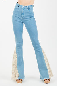 Lace Trim Insert Bell Bottom Jeans