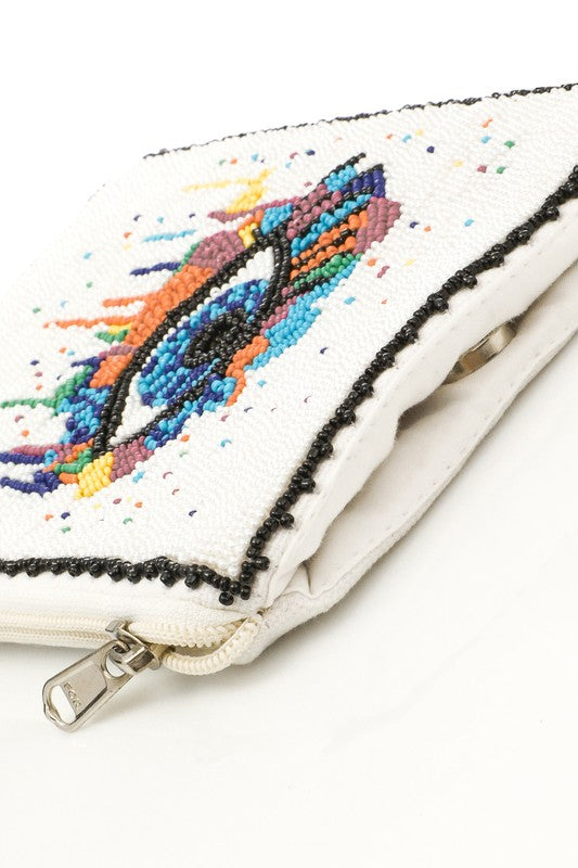Seed Beaded eye Crossbody Bag