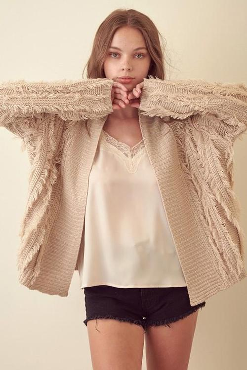 Taupe Shag Sweater