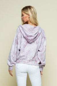 Marble Tie Dye V Neck Hoodie With Draw