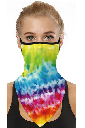 Rainbow Tie Dye Print Neck Gaiter Face Mask With Earloop