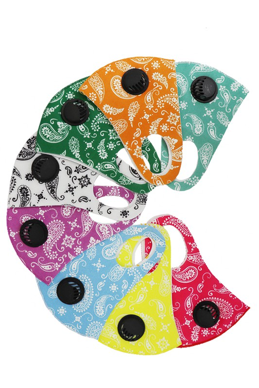Paisley print washable polyester face mask