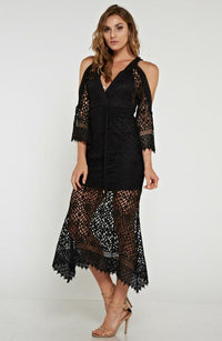 Black Crochet Off the Shoulder Dress