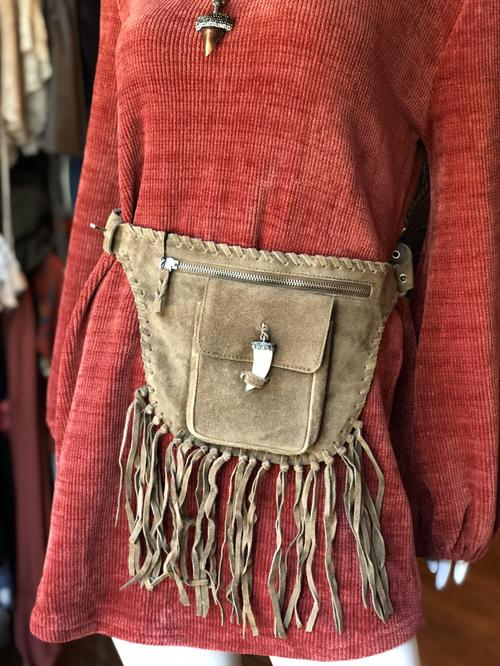 Dark Camel Suede with Fringe and Horn Tooth Belt Bag