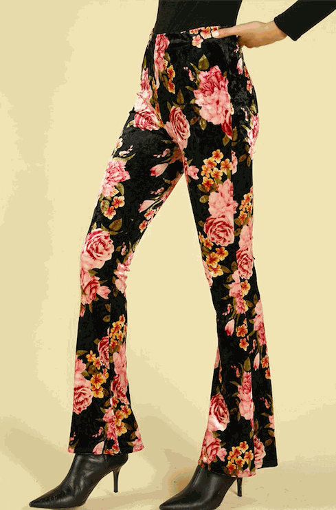 High Waisted Floral Flare Pants