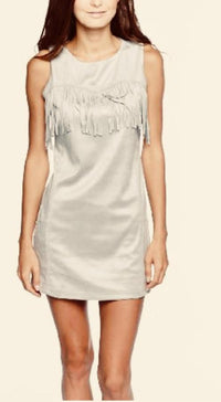 Light Heather Grey Fringe Accent Dress