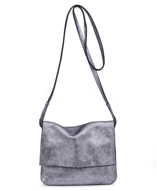 Monroe Pewter Real Leather Handbag