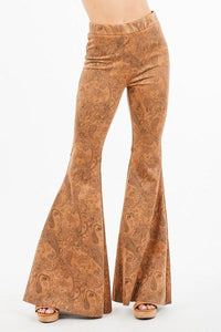 Western Paisley Print Suede Bell Bottoms