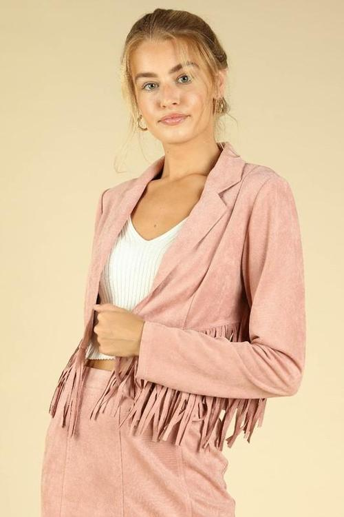 Dusty Pink Suede Jacket