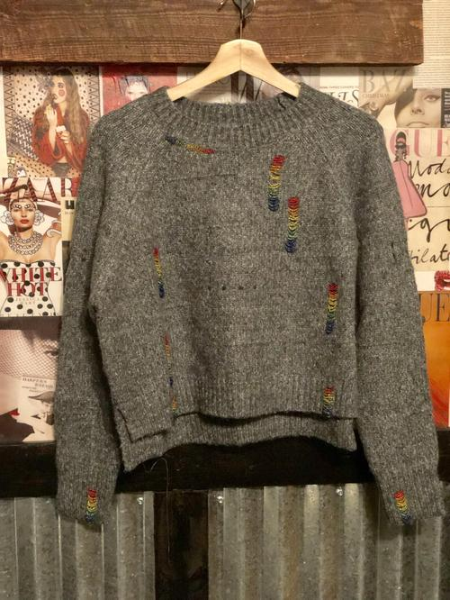 Cropped Knit Sweater With Rainbow Distressed Details