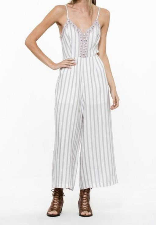 Off White Violet Lace Jumpsuit