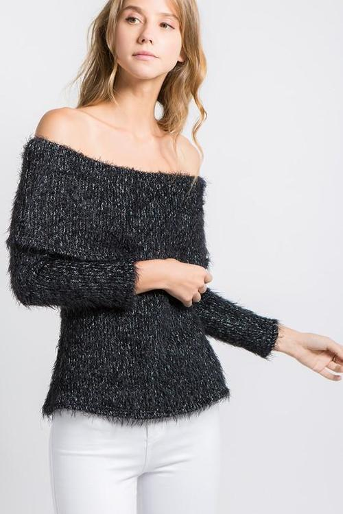 Off the Shoulder Speckled Long Sleeve Soft Sweater Top
