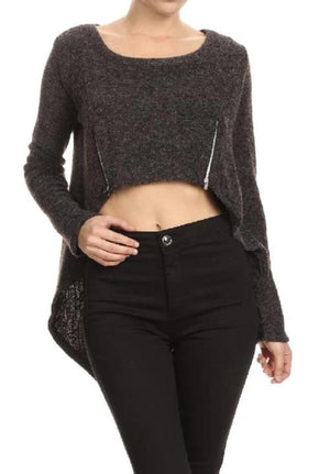 Grey Hi Low Cropped Zipper Top