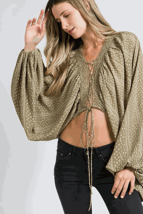 Long Flare Sleeve With Tie Front Top
