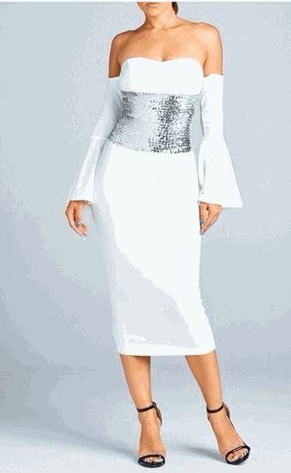 Off Shoulder Bell Sleeve Sequence Midi Dress