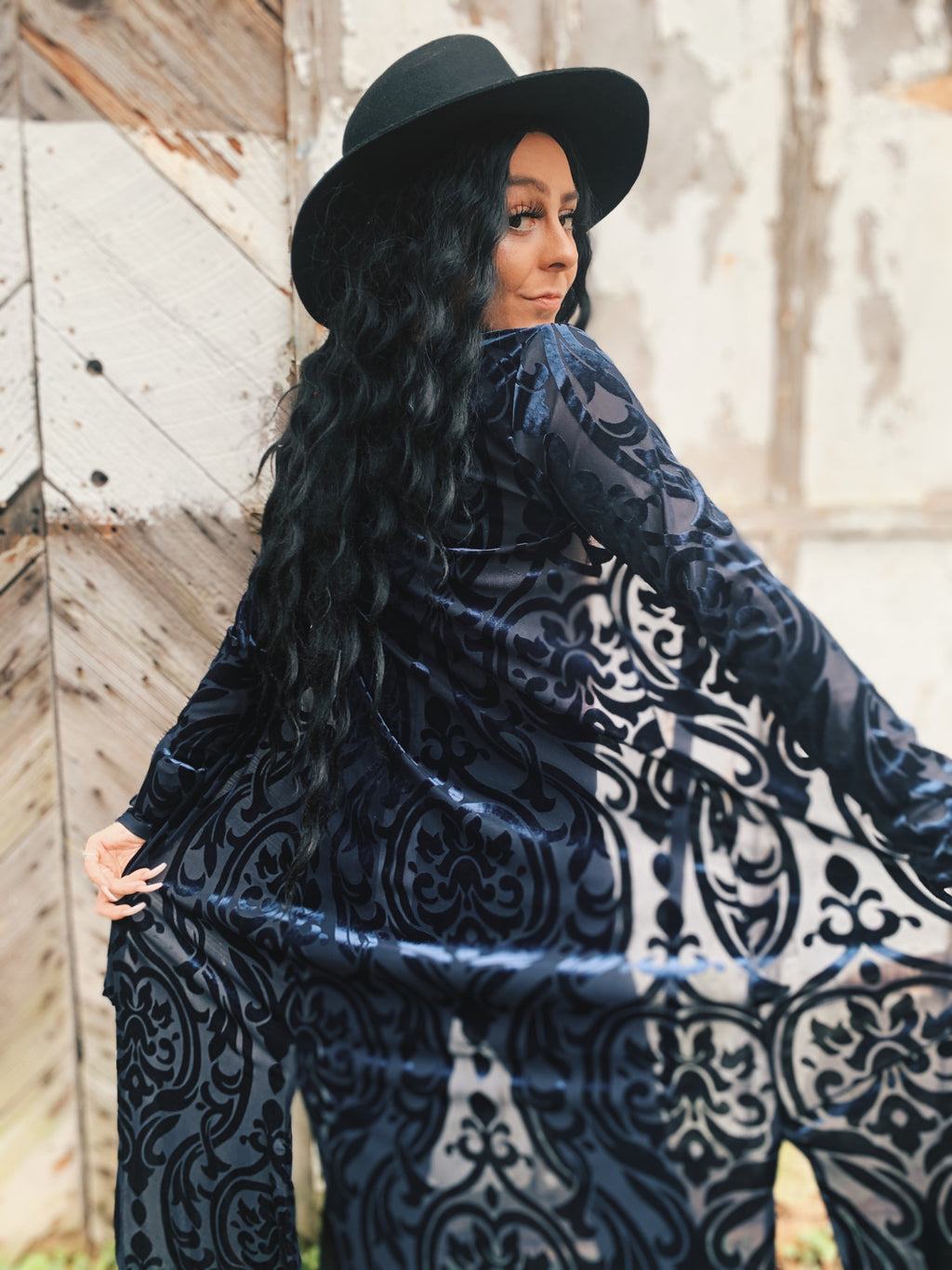 Navy Abstract Long Velvet Kimono