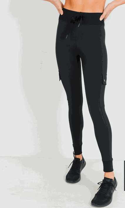 Cargo-Jogger Hybrid Leggings with Clasp Buttons