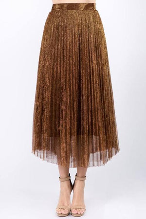 Metallic Mesh Pleated Maxi Skirt